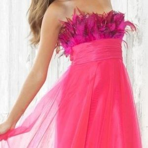 NEW PINK FEATHERED JEWELED STRAPLESS BALLGOWN